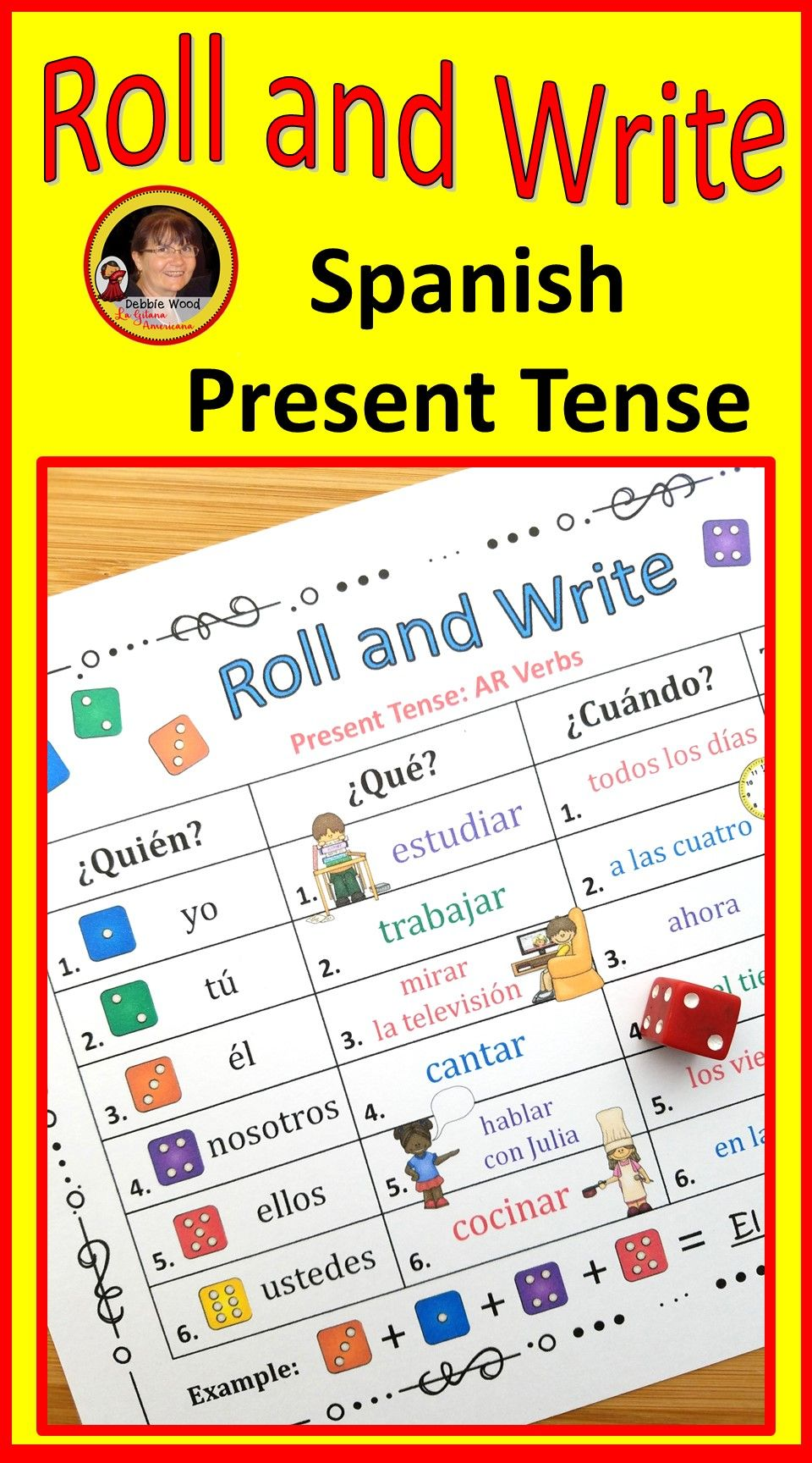 Spanish Present Tense Review Activities Roll and Write | Spanish ...