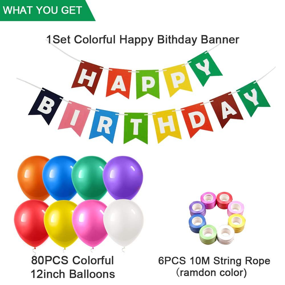 Happy Birthday Banner Balloons Rainbow 80pcs Colorful Balloons