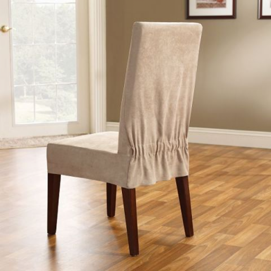 Sure Fit Soft Suede Shorty Dining Room Chair Slipcover Reliable Fit Fit Soft Suede Taupe Shorty Dining Room Chair