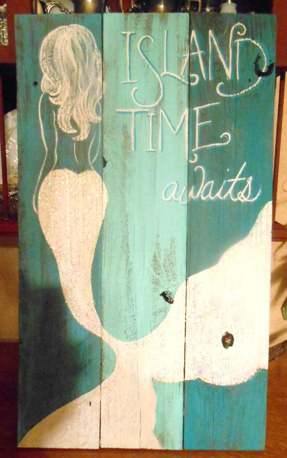 Mermaid Sign Hand Painted Original, Glittered, Beach #mermaidsign