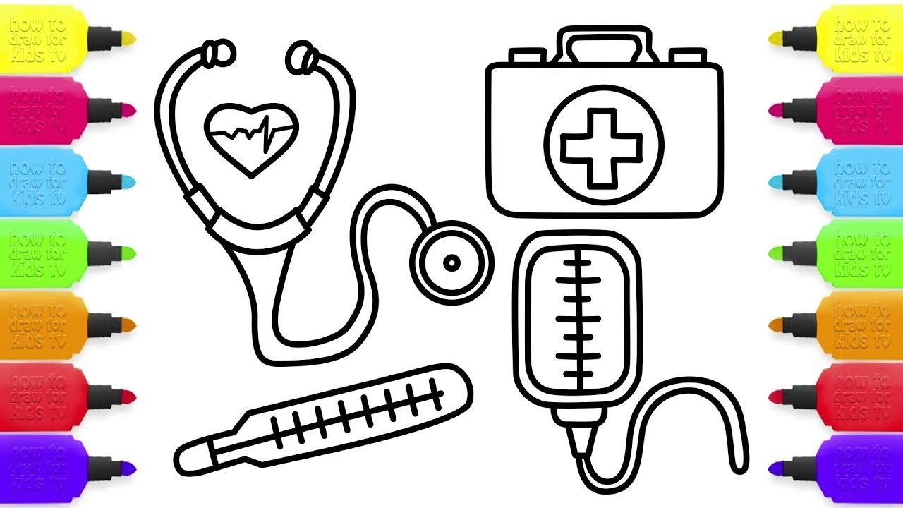 How To Draw Medical Doctor Kit For Baby Coloring Pages