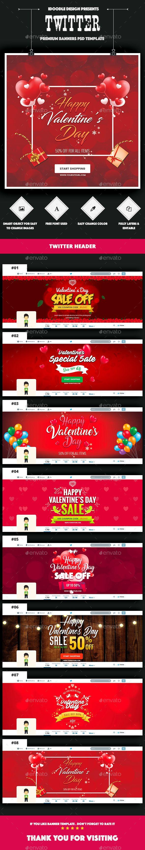 Twitter Header Valentine\'s Day - 08 PSD | Header, Psd templates and ...