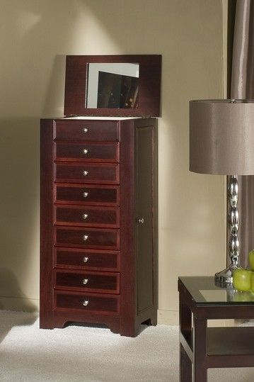 8Drawer Jewelry Armoire Cabinet Cherry by Chic Jewelry