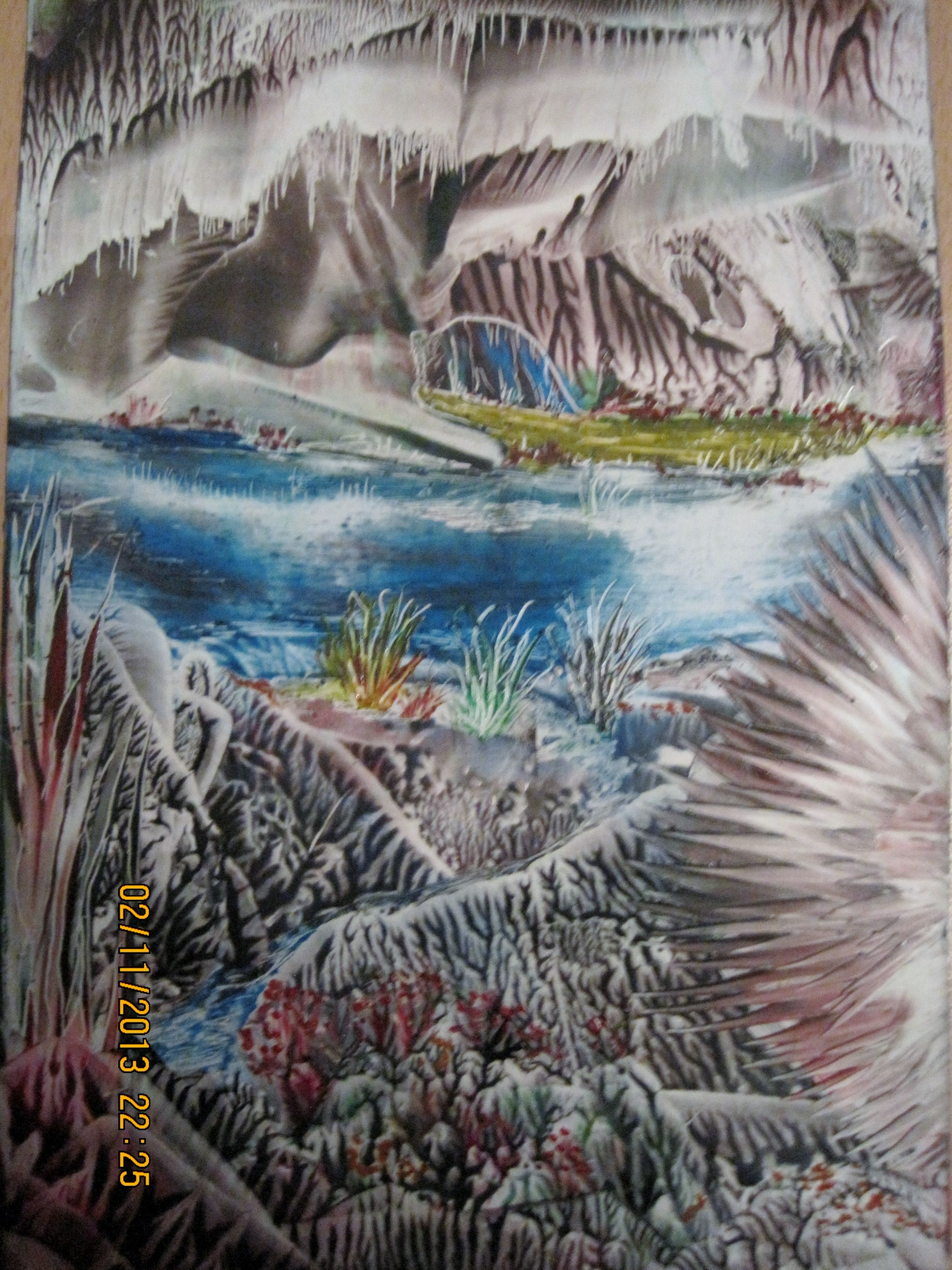 Encaustic art,using beeswax and travel iron and stylus,size A6,IMG 1358,Titled-WATER CAVERN.2013. By Peter Chattaway.