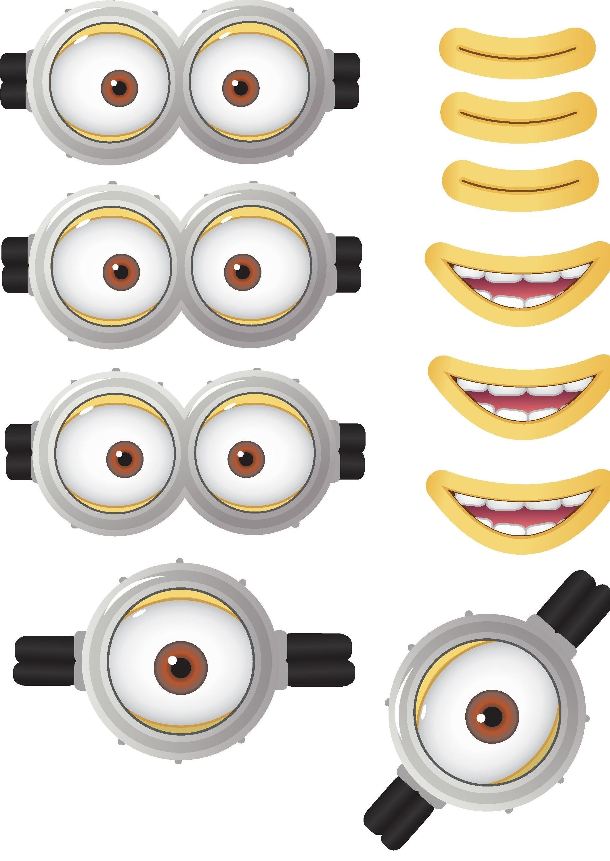minion goggles mouths free printable despicable me 2. Black Bedroom Furniture Sets. Home Design Ideas
