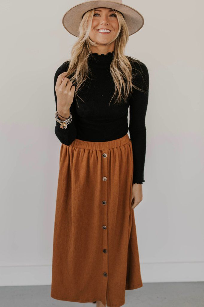 Tayla Button Skirt #churchoutfitfall