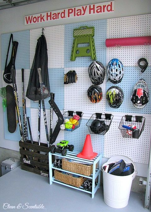 Garage Pegboard Organizer This Is Such A Great Way To Keep All Of That Sports Gear Organized And Off The Floor