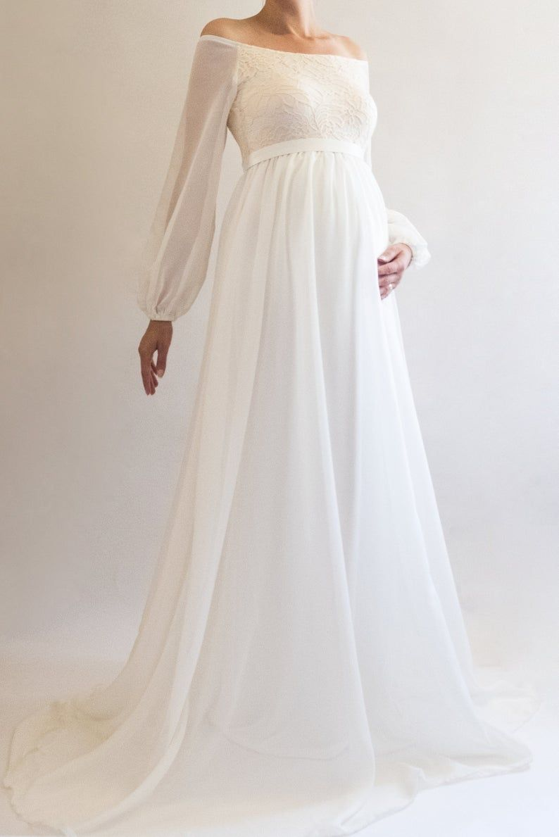 Annabelle Bohemian Wedding Maternity Gown Boho Maternity Dress For Baby Shower White Maternity Dress For Photoshoot Long Sleeved Dress Chiffon Maternity Dress Dresses For Pregnant Women Boho Maternity Dress