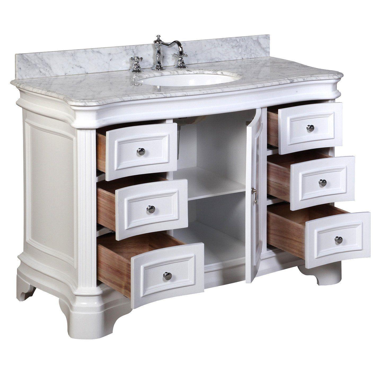 Katherine 48 Inch Vanity With Carrara Marble Top Single Bathroom Vanity 48 Inch Bathroom Vanity Bathroom Vanity Sizes
