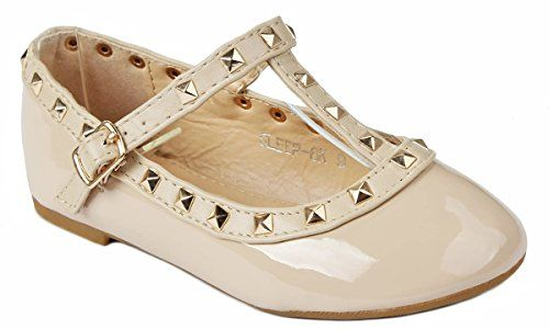 0a7691840 JJF Shoes Girls Kids T-Strap Rivet Studded Buckle Dress Ballet Flat/Kitten  Heel Shoes