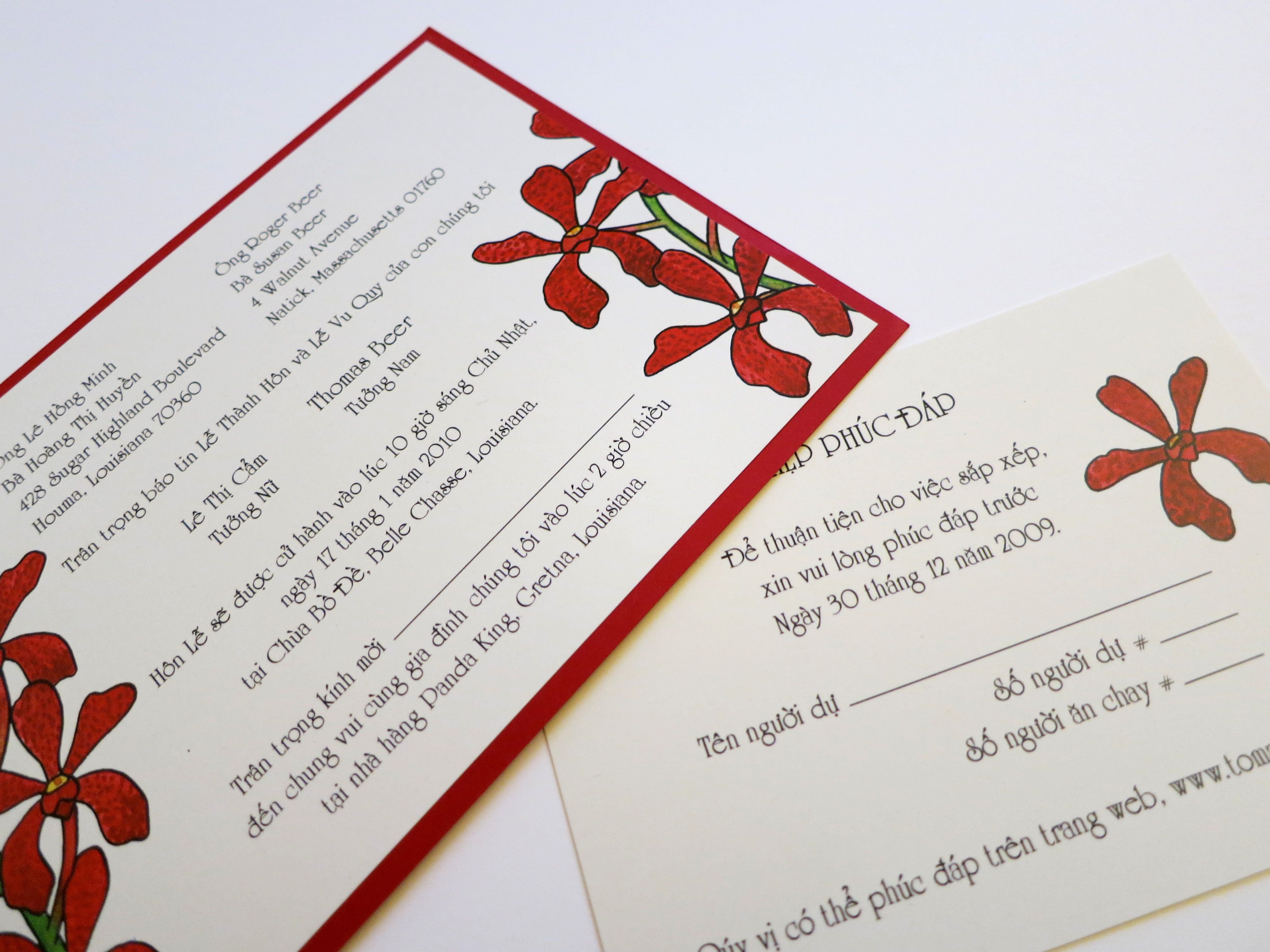 Here are the Vietnamese versions of the wedding invitation and reply ...