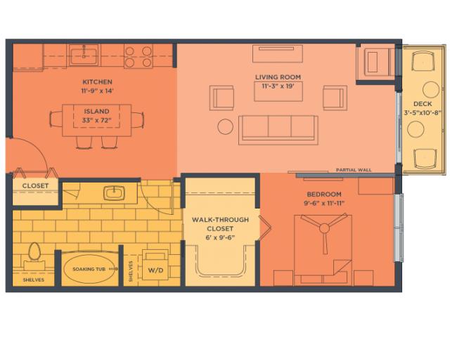 One Bedroom Floor Plan of Property Track 29 City