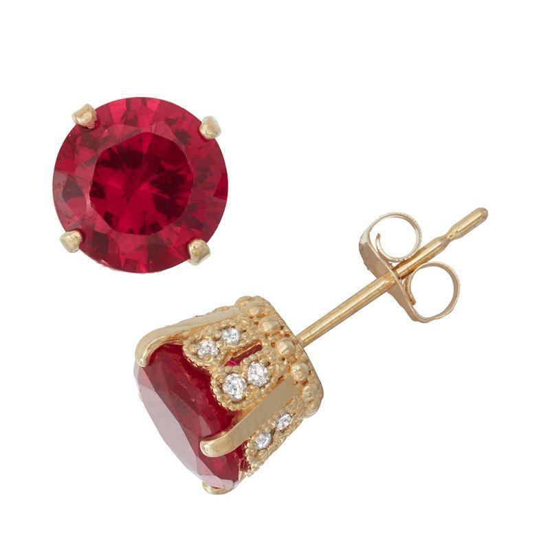 2e52a0f3b Lab Created Ruby And 1/6C.T. T.W. Diamond 10K Yellow Gold Earrings ...