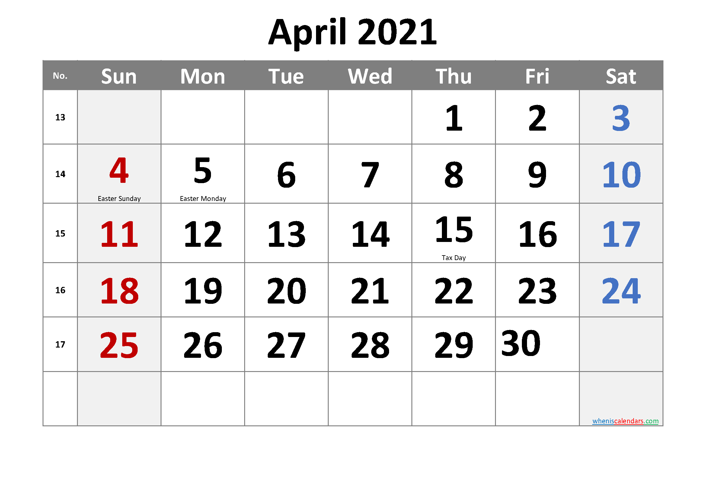 April 2021 Calendar Pdf | Lunar Calendar