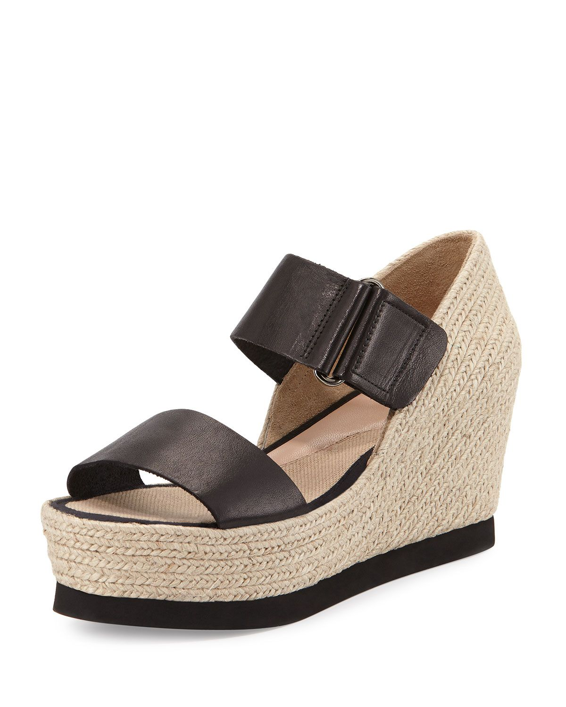 68c18d03c93 Gretta Leather Espadrille Wedge Sandal, Black/Natural, Women's, Size ...