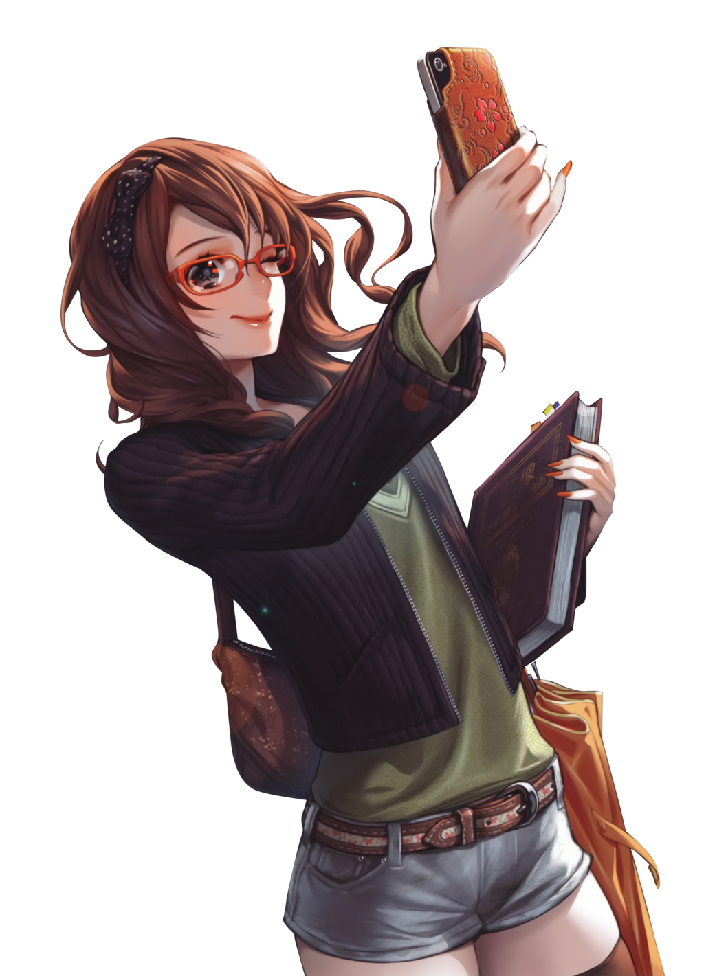 Anime Brown Hair Glasses Girl