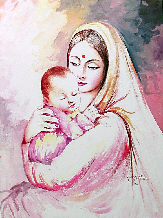 Mother And Child Mother Painting Indian Paintings Mother And Child Drawing