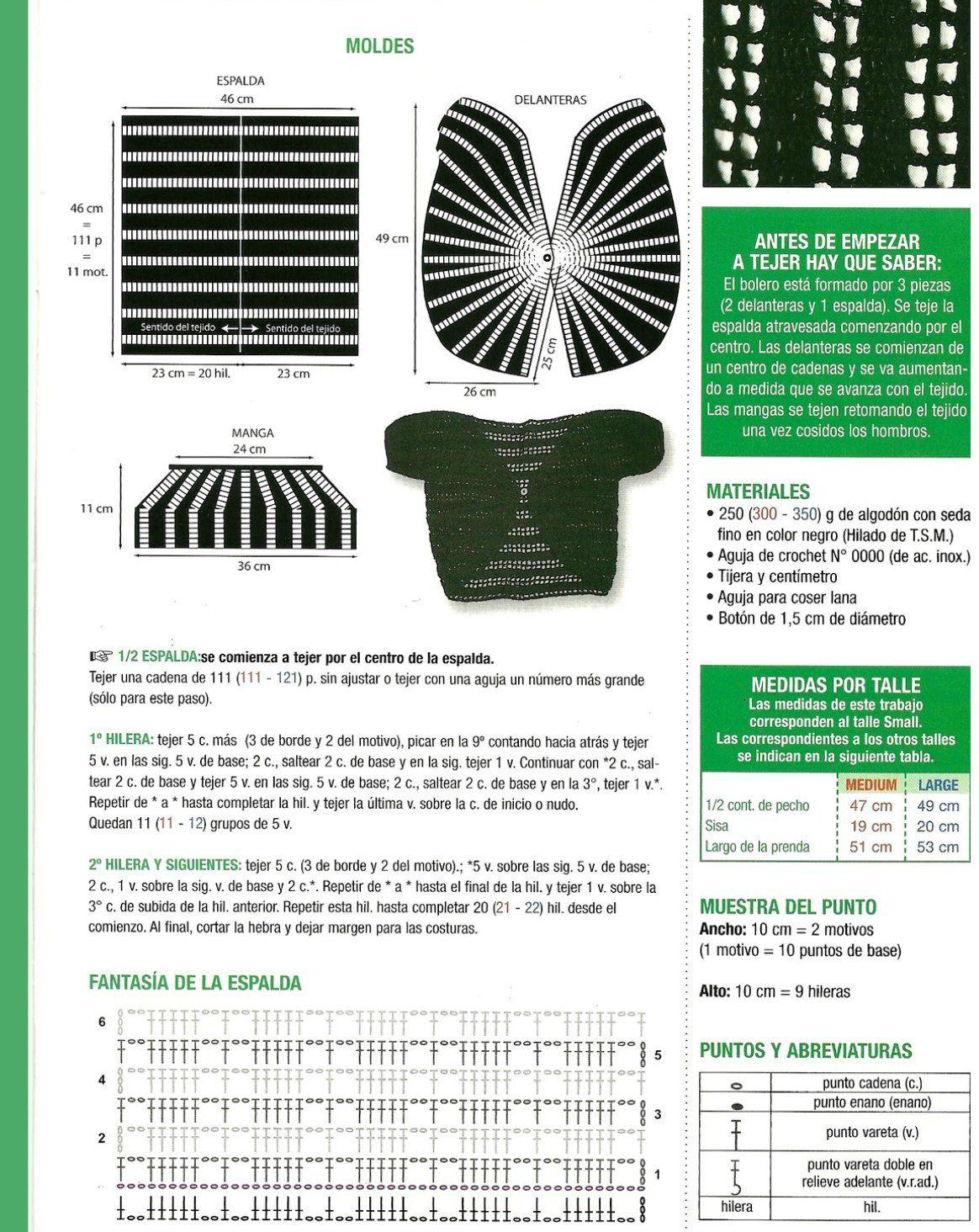 Bolero formado por 3 piezas con cadenas centrales | Vestir Crochet ...