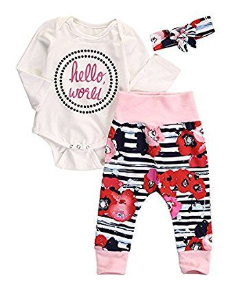 2ae5d02b508e Amazon.com: Alicado Newborn Baby Girl Hello World Bodysuits+Pants  Legging+Headband Outfits 3Pcs Clothes Set: Clothing