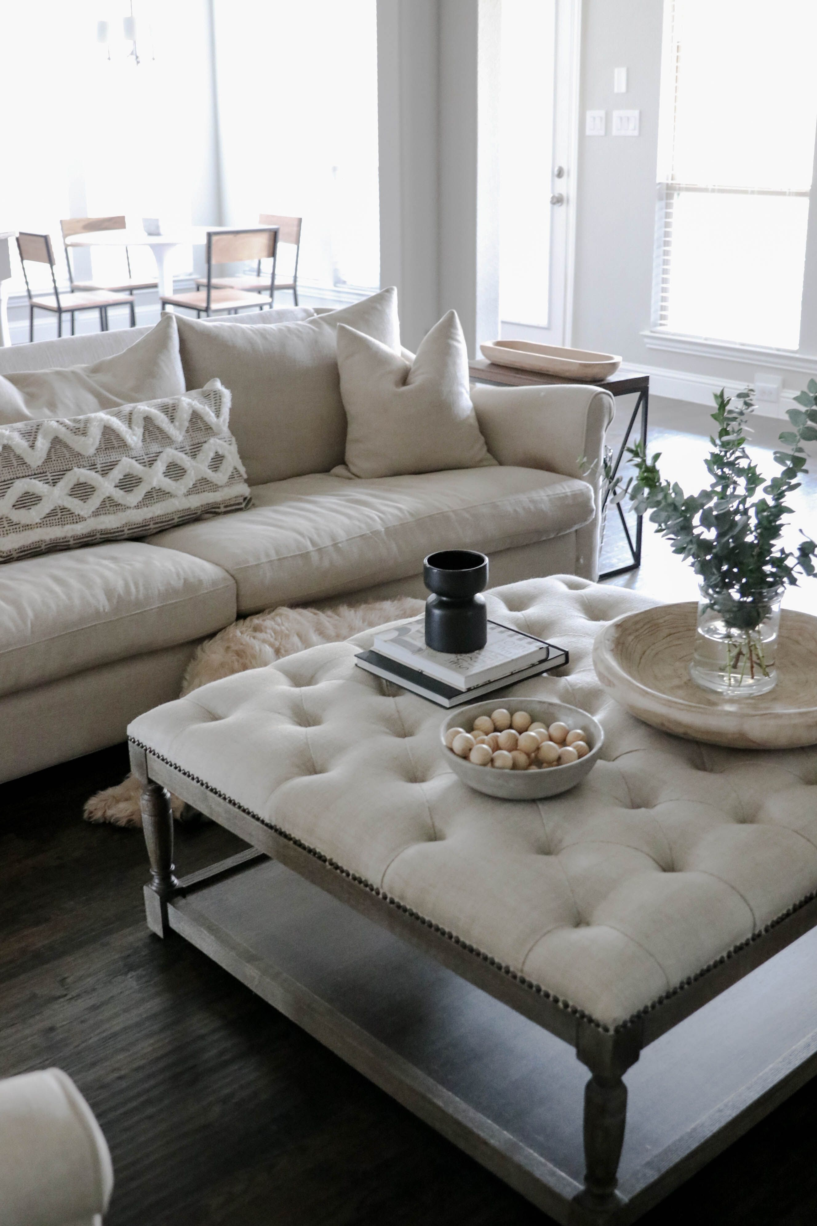 Living Room Decor At Home Ottoman Coffee Table Decor [ 3984 x 2656 Pixel ]