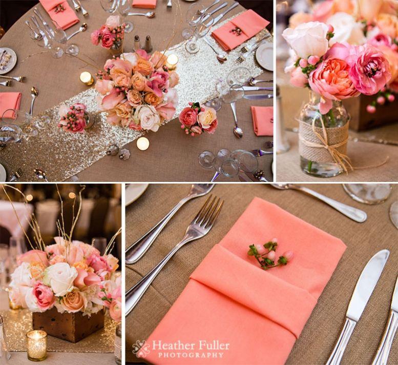 Coral Wedding Reception Ideas: Heather Fuller Photography. The Publick House Historic Inn