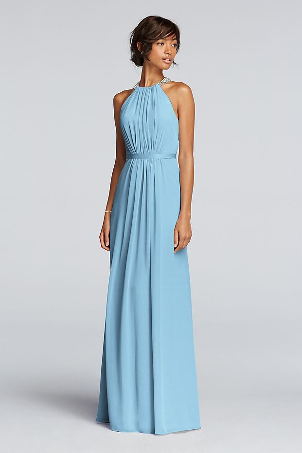 The high beaded neckline on this long chiffon bridesmaid dress ...