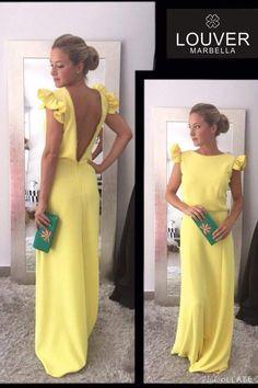 85f4541a10 Precioso vestido largo con escote en espalda en el color de la temporada  AMARILLO!! Ideal para lucir bronceado en los eventos veraniegos!!