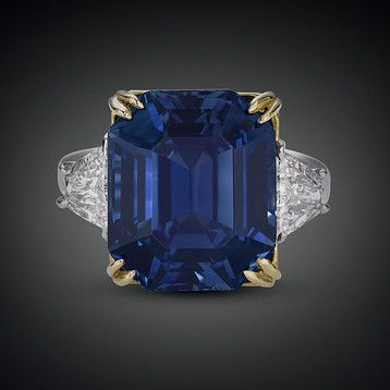 Weighing an absolutely astonishing 18.50 carats, this natural emerald-cut Kashmir sapphire is absolutely beyond compare. Displaying the lustrous, velvety blue hue so beloved in these rare Kashmir gemstones, this rare and important sapphire is completely untreated. Finding any example of this remarkable stone is a rarity. Price: $6,500,000