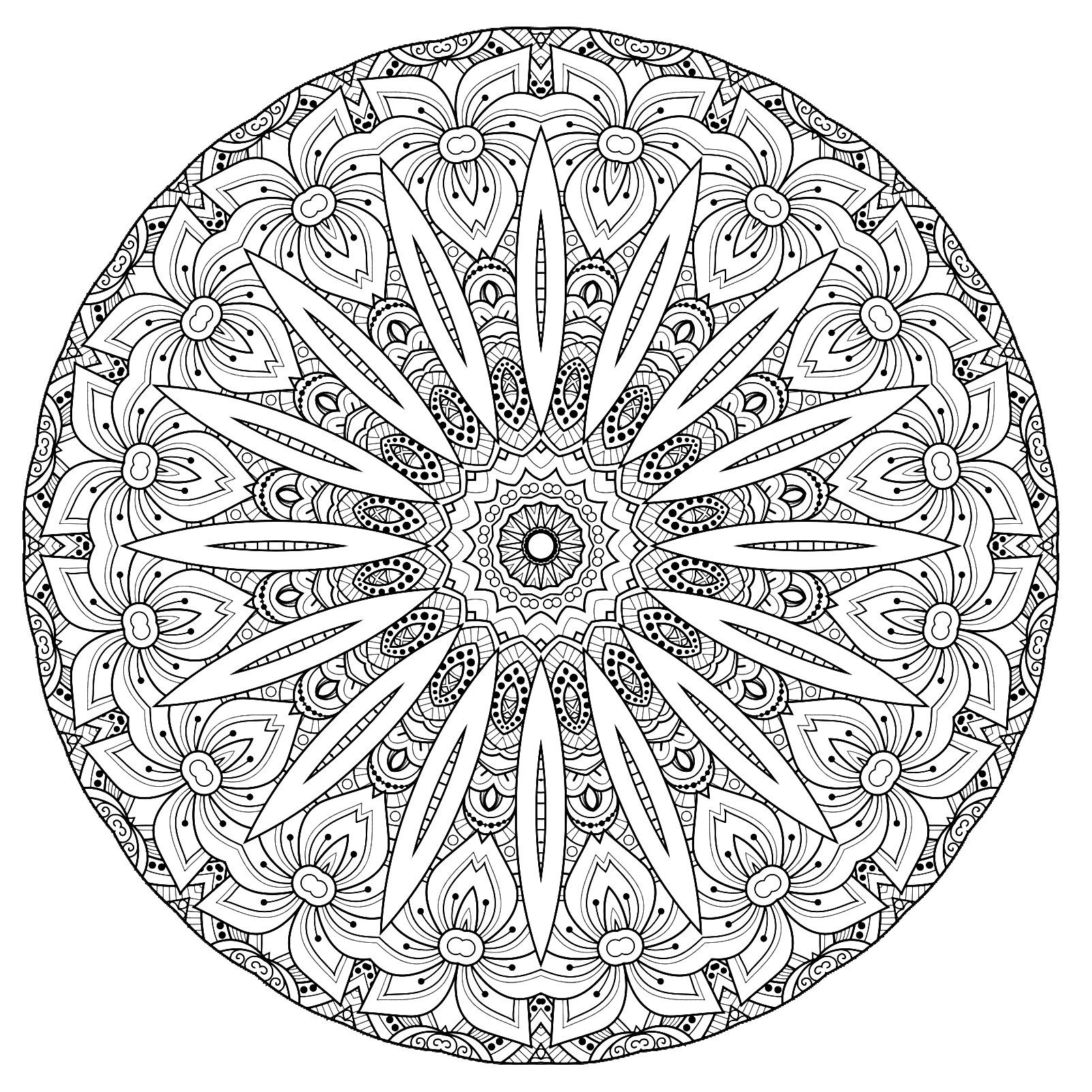 A Mandala Quite Difficult To Color Perfect If You Like To Color Small Areas And If You Like Var Mandala Coloring Pages Mandala Coloring Flower Coloring Pages