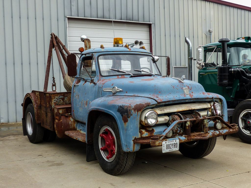 Rusty Old 1953 F800 Ford Big Job Tow Truck by J Wells S