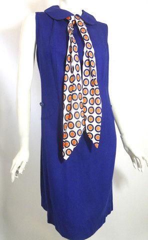 $50 SALE Mod Dots Blue Shift Dress w/ Polka Dot Scarf circa 1960s - Dorothea's Closet Vintage