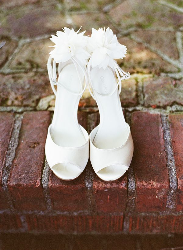 Open Toe Bridal Shoes With Flowers On Heels