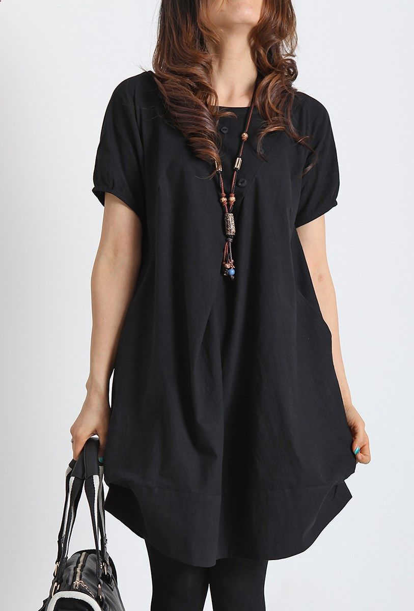 Black summer linen dress plus size cotton shift dress