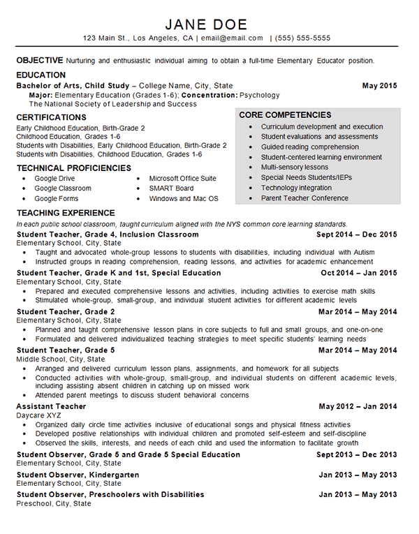 Child Care Teacher Resume Resume Examples Teaching