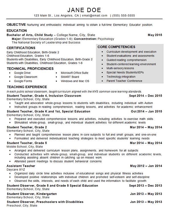 sample resume for assistant teacher in childcare center