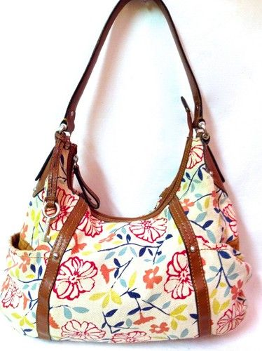 ae18f5481b Fossil Womens Flowers Multicolor Canvas Zip Up Shoulder Bag Hobo ...