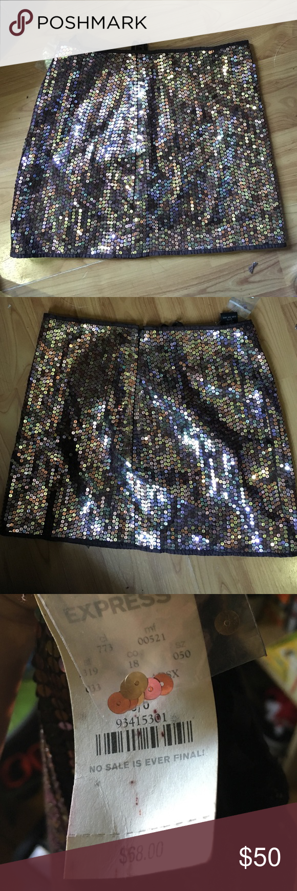 NWT express brown sequin skirt NWT. I'm great condition. Size 5/6 Express Skirts Mini