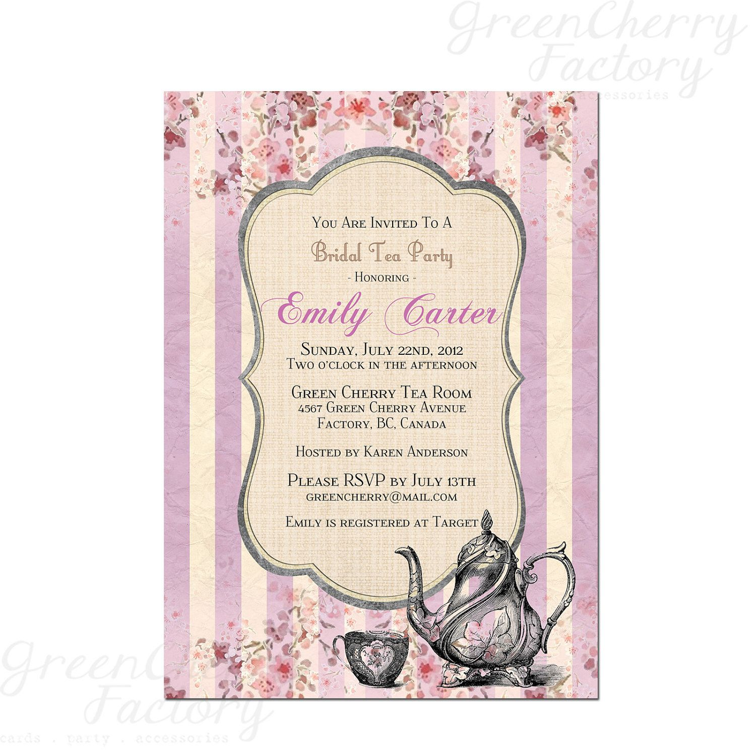 Tea Party Invitation - Printable Baby Tea Party Floral Bridal Shower ...
