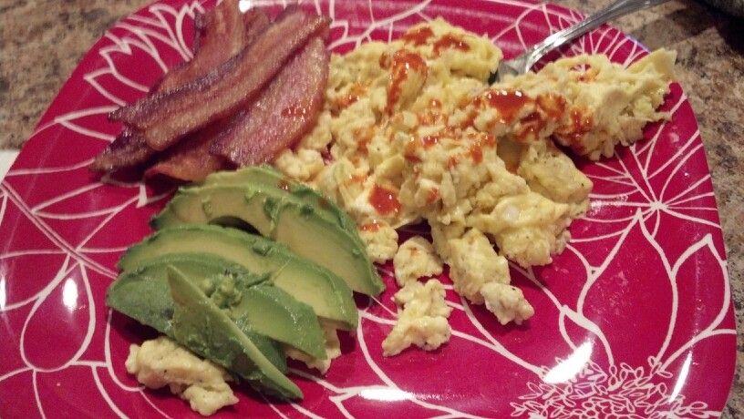 Day 20 breakfast: eggs, bacon, avocado, black coffee