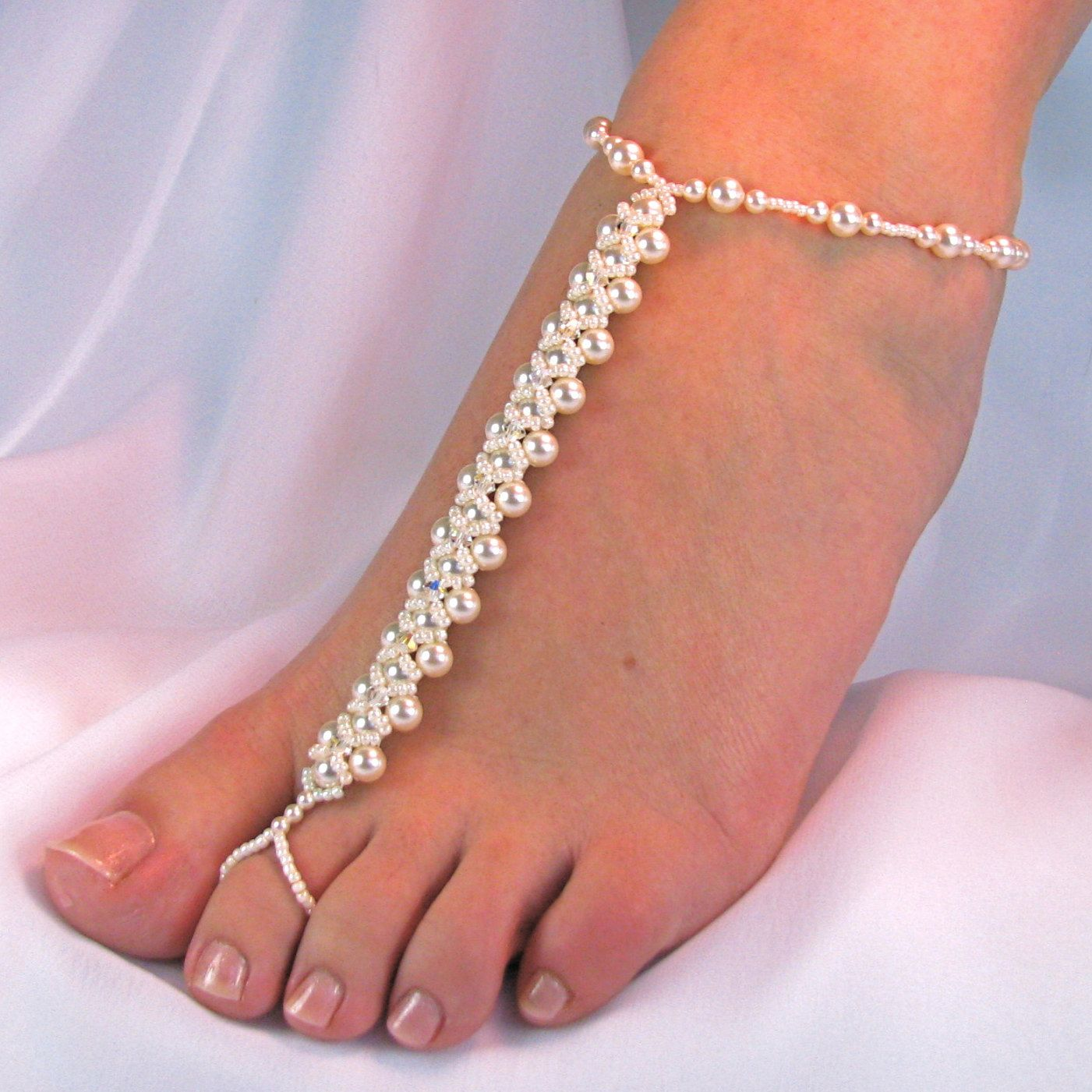Barefoot Sandals Bridal Genuine Swarovski Crystal Pearl Foot Jewelry Design  2 Free Shipping 167a38221aaf