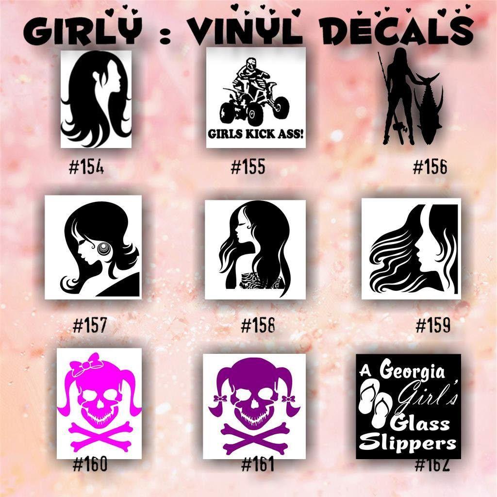 GIRLY Vinyl Decals  Car Sticker Custom Vinyl Decal - Bow custom vinyl decals for car