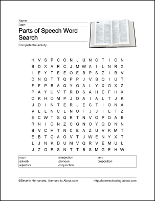 Parts of Speech Word Search, Crossword Puzzle, and More ...