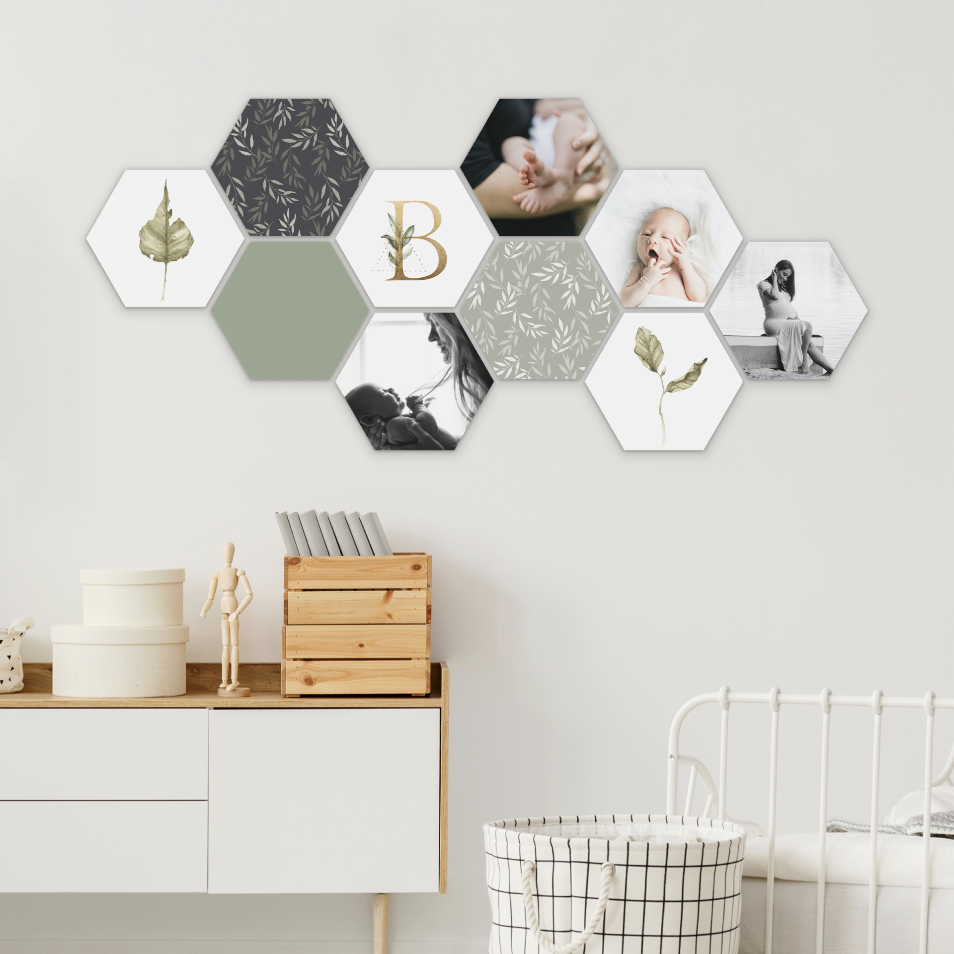 Hexagon Collage Babykamer Kantoor Aan Huis Kast Woodland Babykamer Foto Muur Ideeen