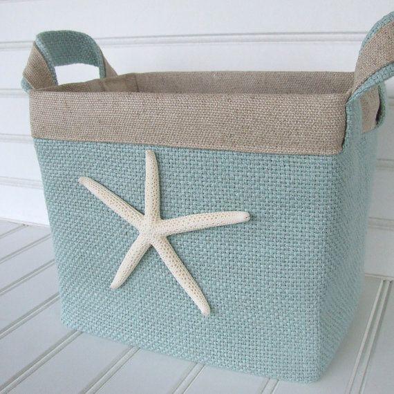 Turquoise Coastal Fabric Storage Basket With By Coastalseasons