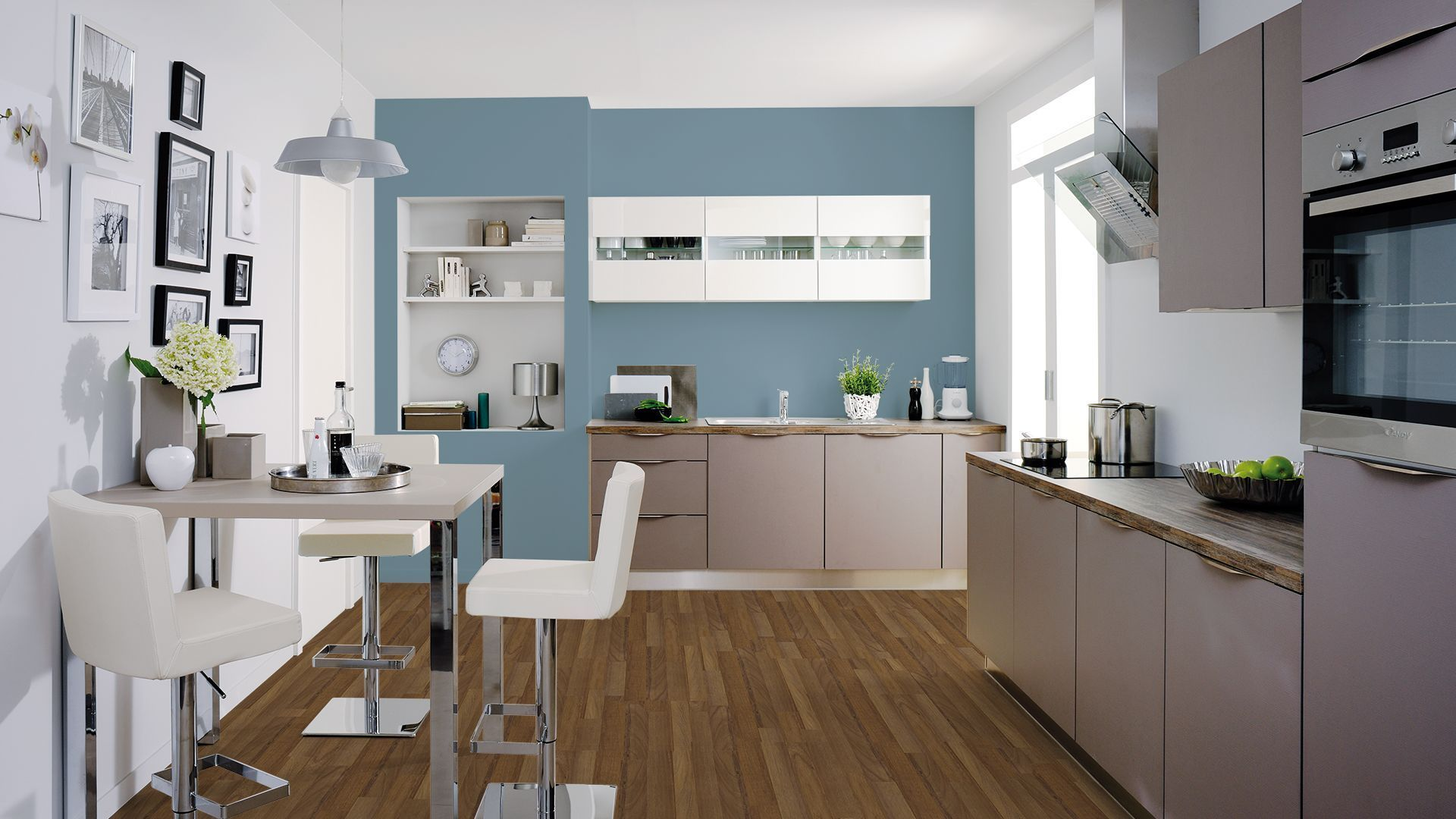 bleu et taupe | carrelage in 2019 | Little kitchen, Cuisine, Taupe