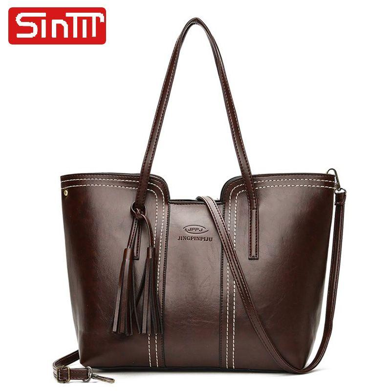 e9053715f23036 [45% off] SINTIR Brand Tassel Solid PU Leather Women Handbags Large  Capacity Female Shoulder Bags Casual Tote Big Travel Crossbody Bags  #fashion ...
