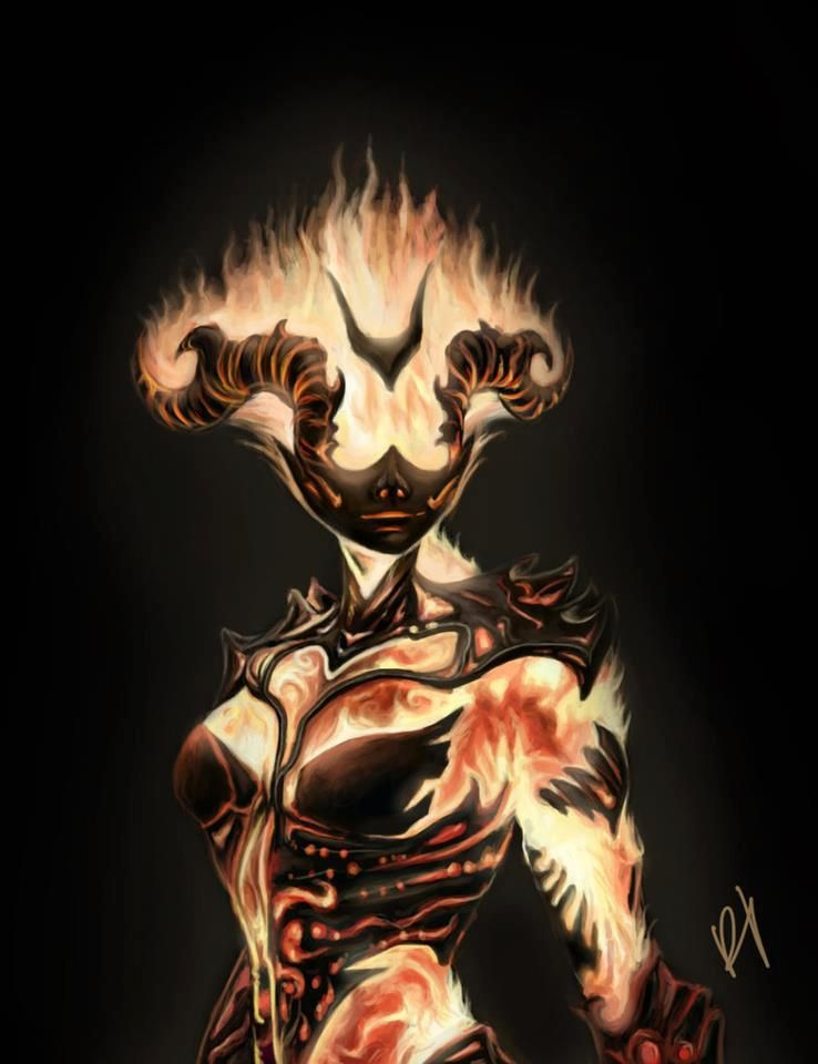 Magical Being-Fire Elemental | Skyrim art, Female ...