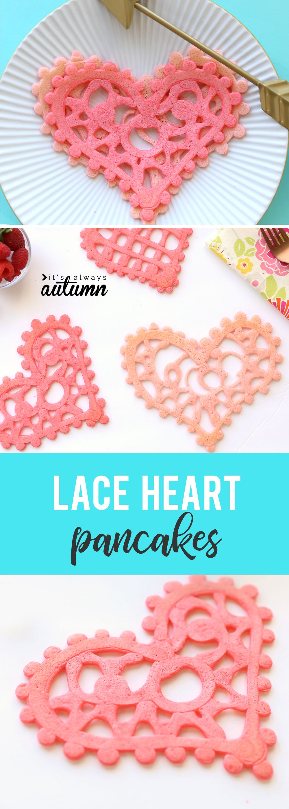 Lace heart shaped pancakes are a fun breakfast idea for Valentine's Day! Valentines recipe to make with kids. #itsalwaysautumn #valentinesday #heartpancakes
