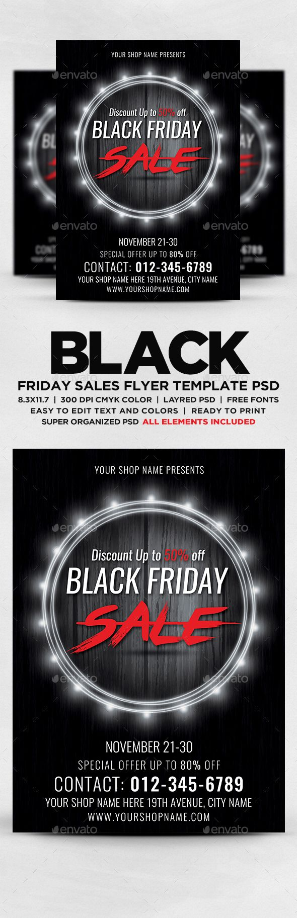 Black Friday Sales Flyer Flyers Print Templates Black