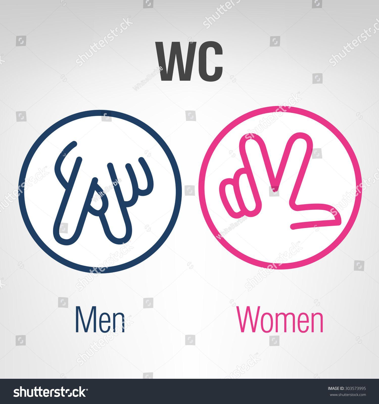 Men And Women Wc Icons Carteles De Bano Letreros Para Banos